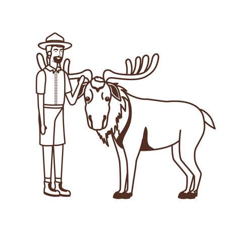 Forest ranger cartoon design, life protector nature fauna and green theme Vector illustration Ilustração