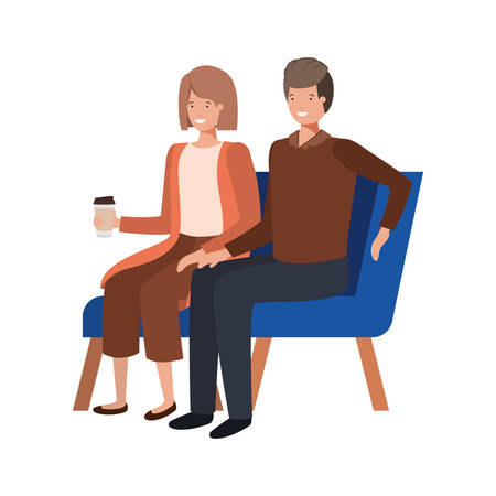 couple with sitting in chair on white background vector illustration design