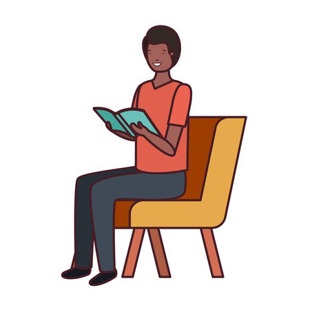 man sitting in chair with book in white background vector illustration design