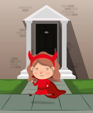 little girl with devil costume in house entrance character vector illustration design 일러스트