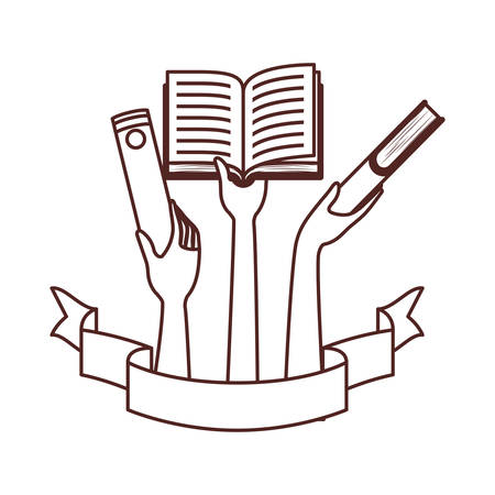 pattern of hands with books in white background vector illustration design Çizim