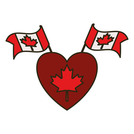 Maple leaf flag heart and canada design, Culture national country travel and tourism theme Vector illustration