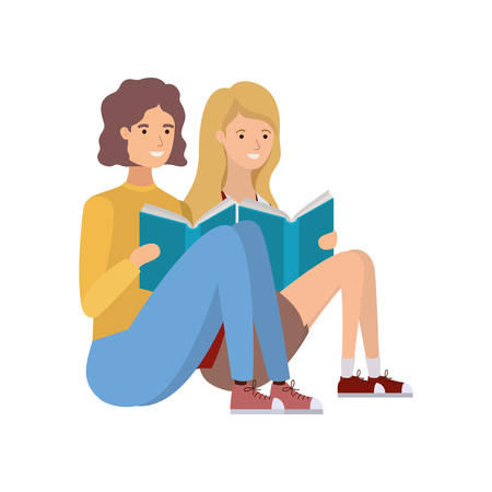 couple sitting with book in hands vector illustration design
