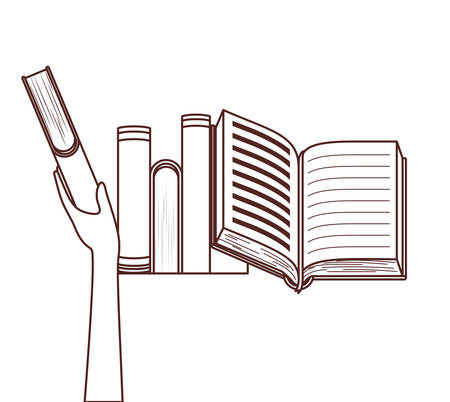 Hand holding books design, Education literature read library school university and learning theme Vector illustration Çizim