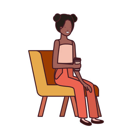 woman sitting in chair with container plastic coffee on white background vector illustration design
