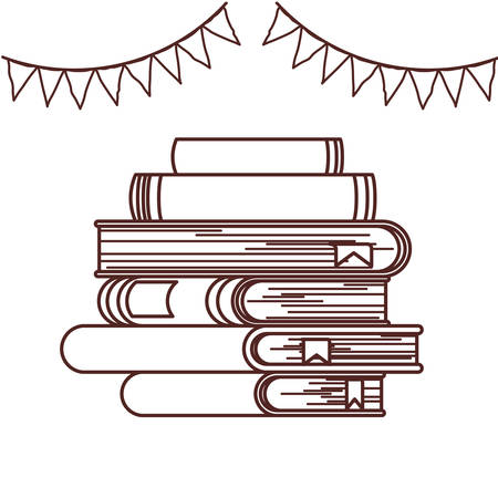 Books and banner pennant design, Education literature read library school university and learning theme Vector illustration