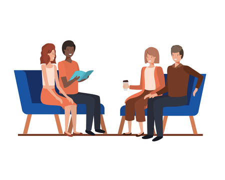 group of people with sitting in chairs on white background vector illustration design