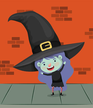 little girl with witch costume in the wall character vector illustration design Çizim