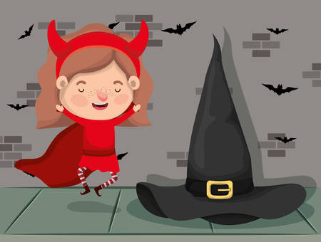 little girl with devil costume and witch in wall character vector illustration design