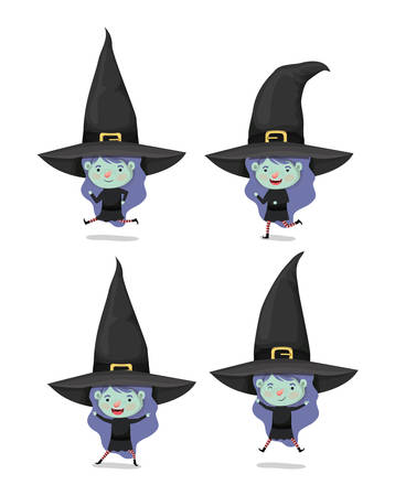 little girls with witch costume characters vector illustration design
