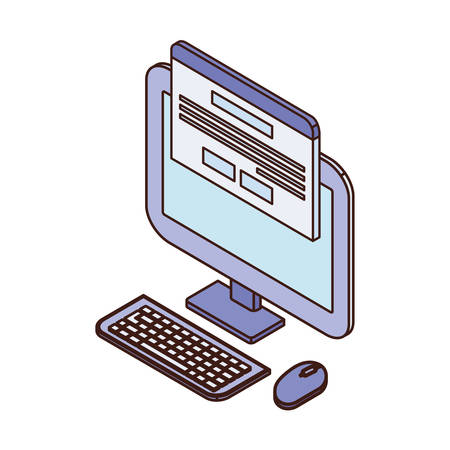 desktop computer screen with email notifications vector illustration design