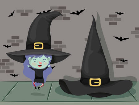 little girl with witch costume in the wall with bats flying vector illustration design Çizim