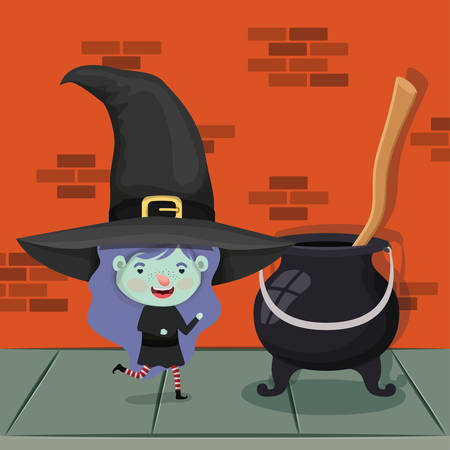 little girl with witch costume in the wall and cauldron vector illustration design Çizim