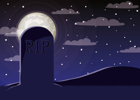 halloween celebration card with cemetery and grave scene vector illustration design