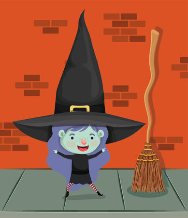 little girl with witch costume in the wall and broom vector illustration design Çizim