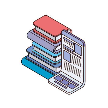 stack of books on white background vector illustration design Çizim