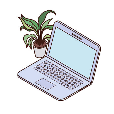 laptop with houseplant on white background vector illustration design