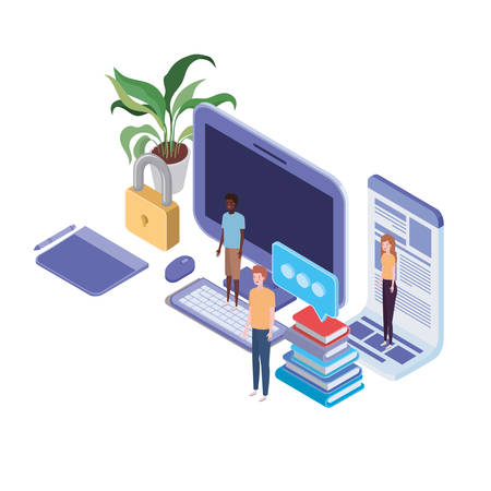 group of people with laptop and sheets of paper vector illustration design Illustration