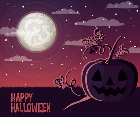 halloween celebration card with pumpkin in the dark vector illustration design Archivio Fotografico - 129254455