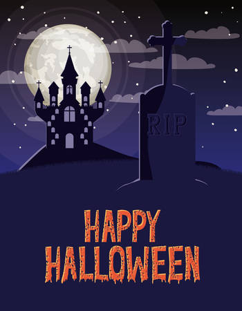 halloween celebration card with cemetery and castle scene vector illustration design Foto de archivo - 129254477