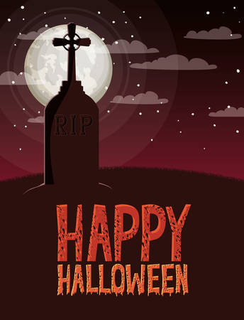halloween celebration card with cemetery and cross grave scene vector illustration design Illustration