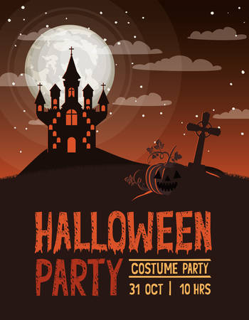 halloween celebration card with cemetery and castle scene vector illustration design Foto de archivo - 129254491