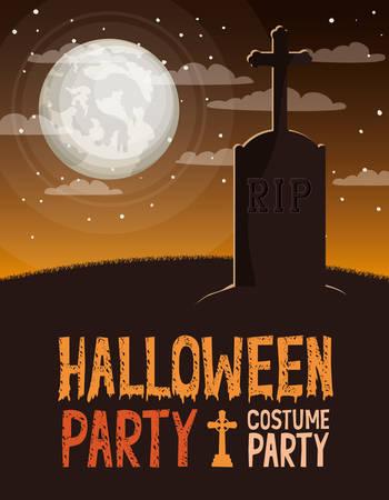 halloween celebration card with cemetery and cross grave scene vector illustration design Stock Illustratie