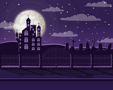 halloween celebration card with cemetery and castle scene vector illustration design Foto de archivo - 129254509