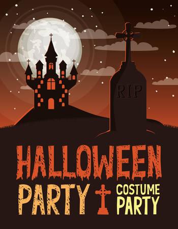 halloween celebration card with cemetery and castle scene vector illustration design Foto de archivo - 129254486