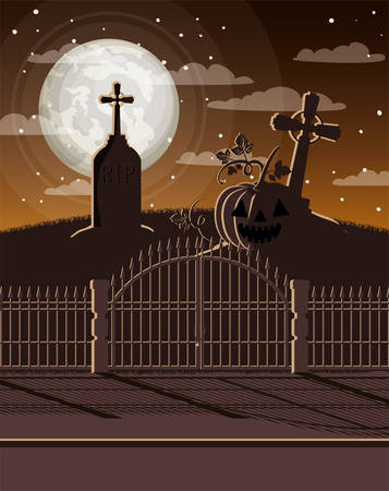 halloween celebration card with cemetery scene vector illustration design