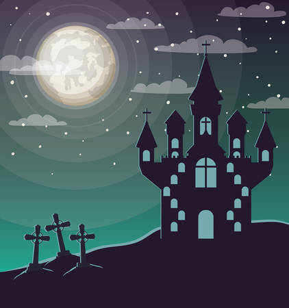 halloween celebration card with cemetery and castle scene vector illustration design