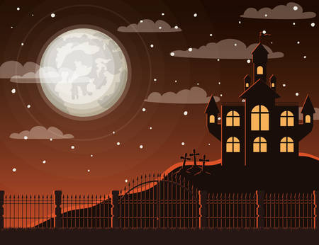 halloween celebration card with cemetery and castle scene vector illustration design Foto de archivo - 129254522