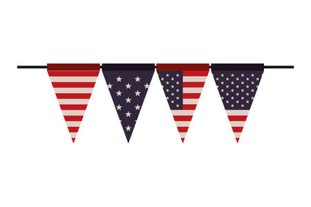 party garland with united states flag vector illustration design