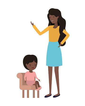 woman with baby sitting on chair character vector illustration design