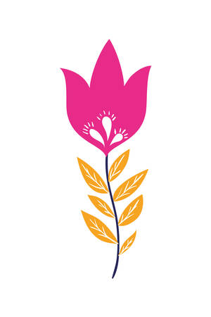 colorful flower with leafs isolated icon vector illustration design Standard-Bild - 129253023