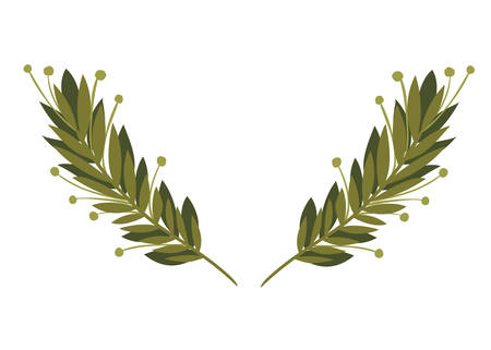garland with flowers and leafs isolated icon vector illustration design