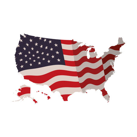 united states map with flag icon vector illustration design Stock Illustratie