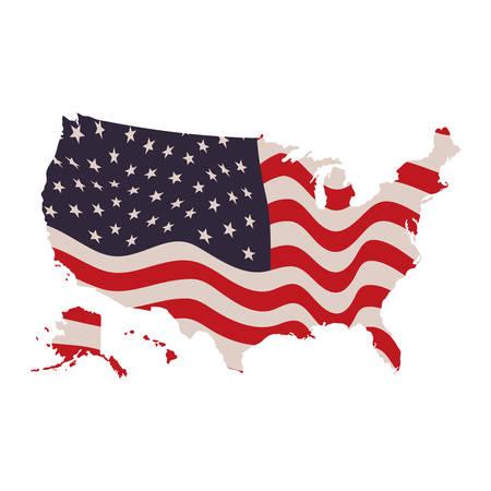 united states map with flag icon vector illustration design  イラスト・ベクター素材