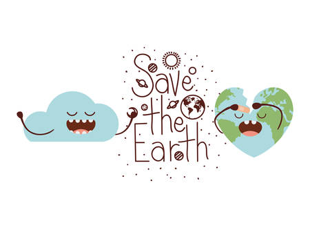 save the earth label icon vector illustration design
