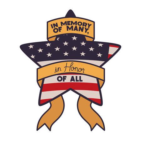 Flagge der Vereinigten Staaten mit Stern isoliert Symbol Vektor Illustration Design
