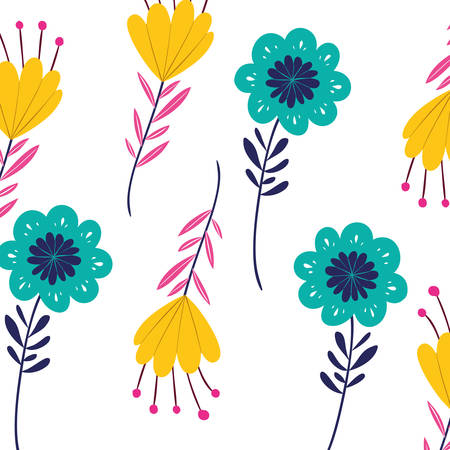 pattern flowers with leafs isolated icon vector illustration design