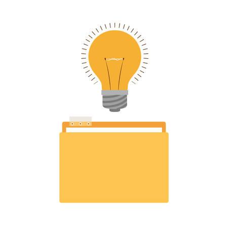 folder with light bulb in white background vector illustration design