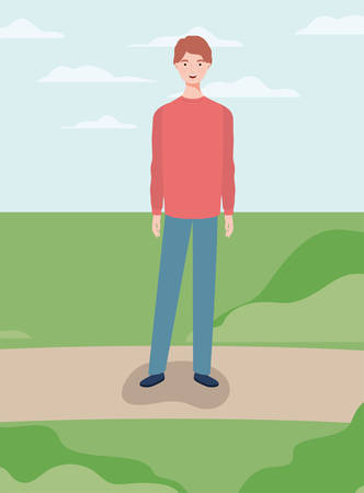 young and casual man in the camp character vector illustration design Illusztráció