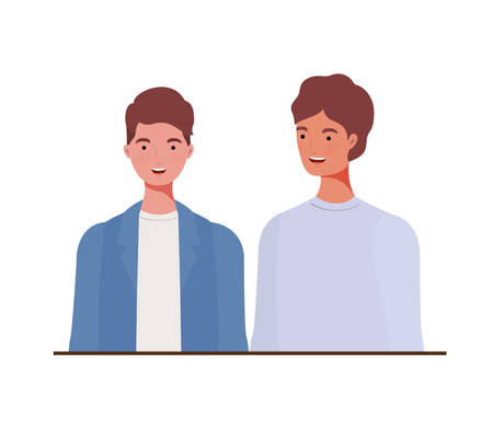 young men on white background vector illustration design