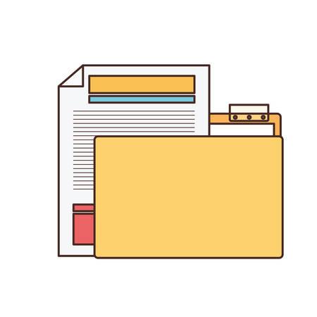 folder with file sheet in white background vector illustration design Ilustração