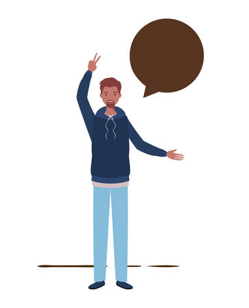 man with speech bubble avatar character vector illustration design Stok Fotoğraf - 129262367