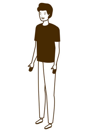 silhouette of young man standing on white background vector illustration design