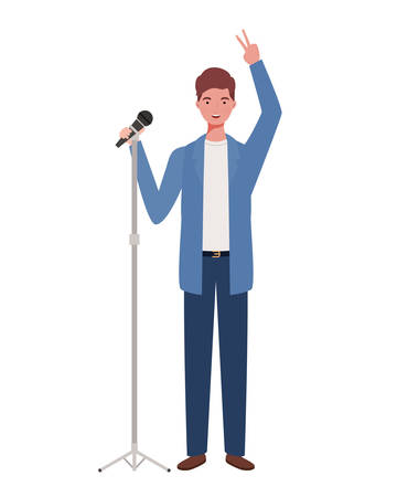 young man with microphone white background vector illustration design Stockfoto - 129262442