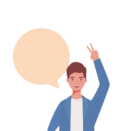man with speech bubble avatar character vector illustration design Çizim