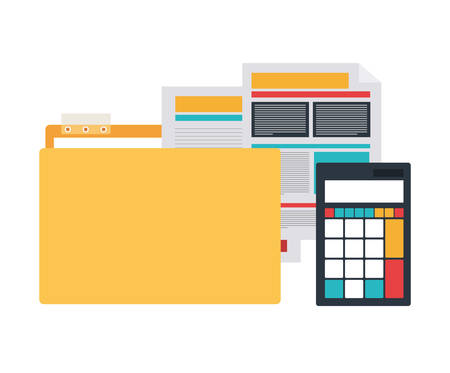 folder with office objects on white background vector illustration design Ilustração